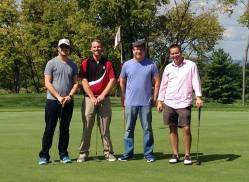From left: Trent Williams, Luke Greffen, Chris Wiles, and Nathan Buchman at the Youth for Christ Scott Frey Golf Classic.